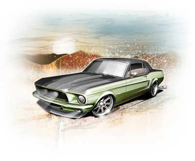 mustang renering on canvas