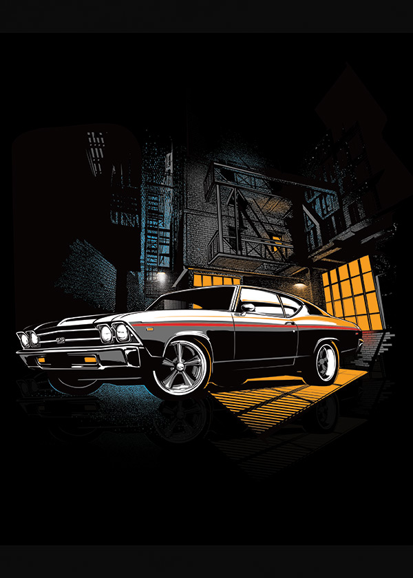musclecar illustration poster