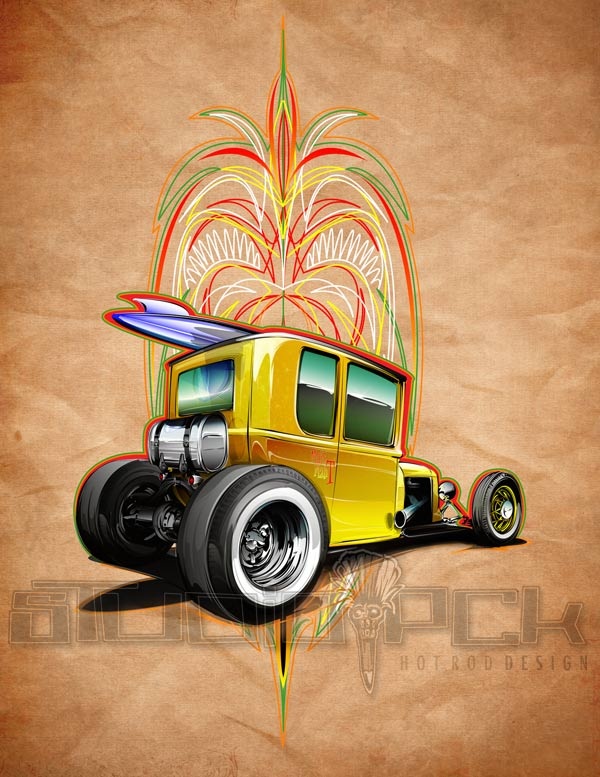 hot rod art print on canvas