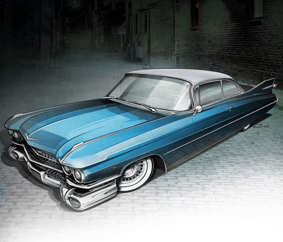 custom 1959 Cadillac exterior rendering by Brian Stupski
