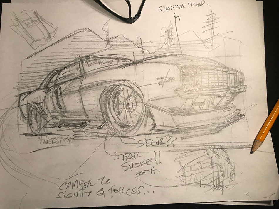Big Red Camaro poster ideation sketch