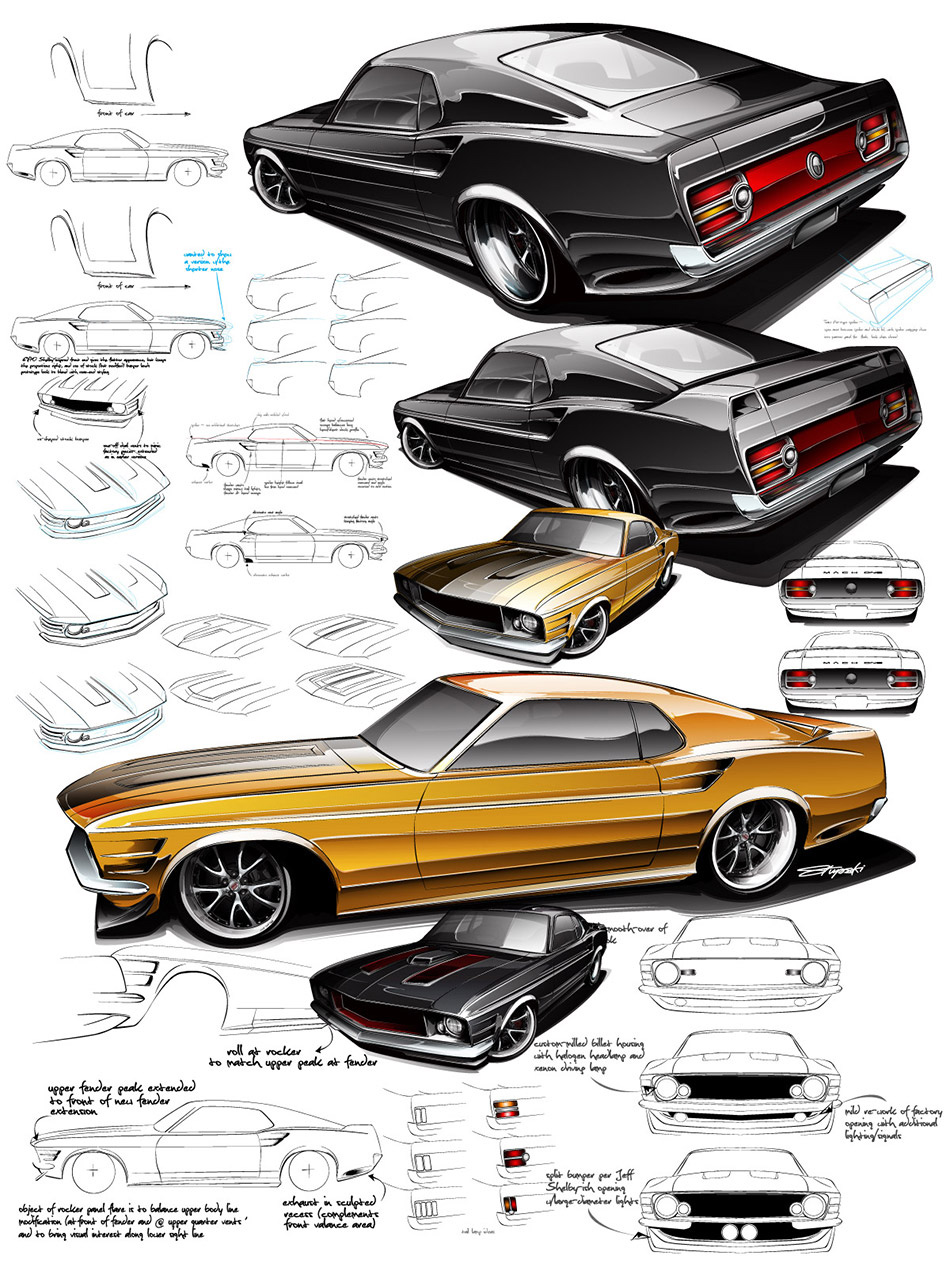 Boss Mustang ideation sketches