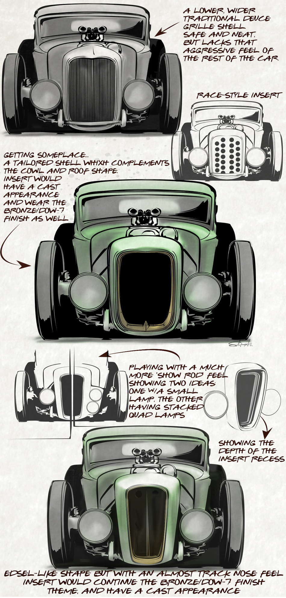 ORIGINAL DESIGN SKETCHES BY BRIAN STUPSKI FOR THE CAL AUTO CREATIONS MODEL A