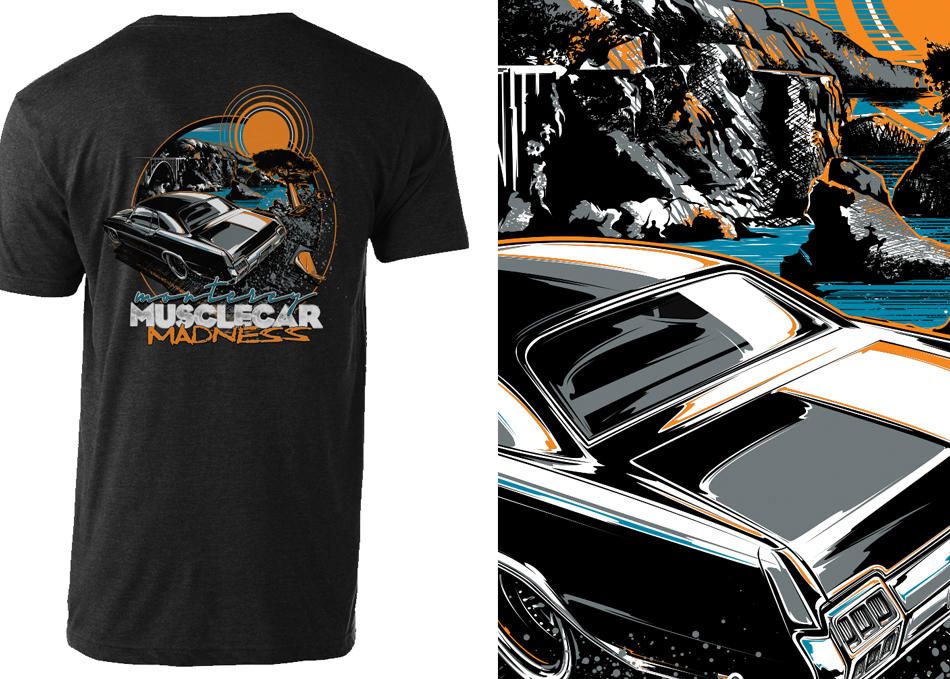 monterey musclecar madness t-shirt design