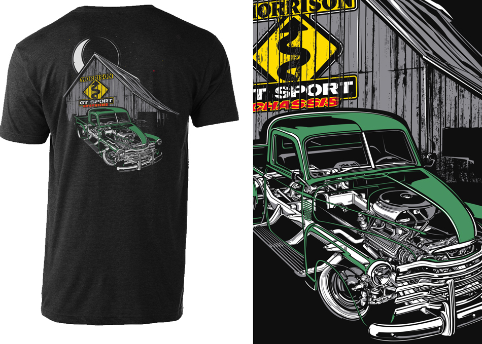 truck cutaway art for t-shirt by Brian Stupski Problem Child Kustoms Studio