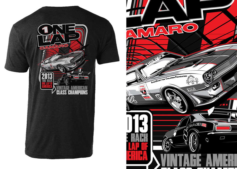 one lap of america camaro  t-shirt artwork