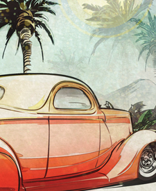tiki print by Automotive Artist and Hot Rod Designer Brian Stupski of Problem Child Kustoms Studio