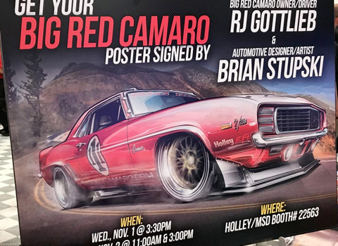 big red camaro sema poster