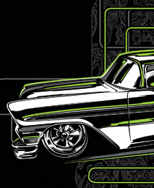 Automotive artwork illustrated by Hot Rod Designer Brian Stupski of Problem Child Kustoms Studio