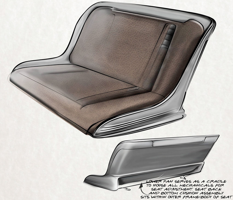ORIGINAL SEAT DESIGN SKETCHES BY BRIAN STUPSKI FOR THE CAL AUTO CREATIONS MODEL A