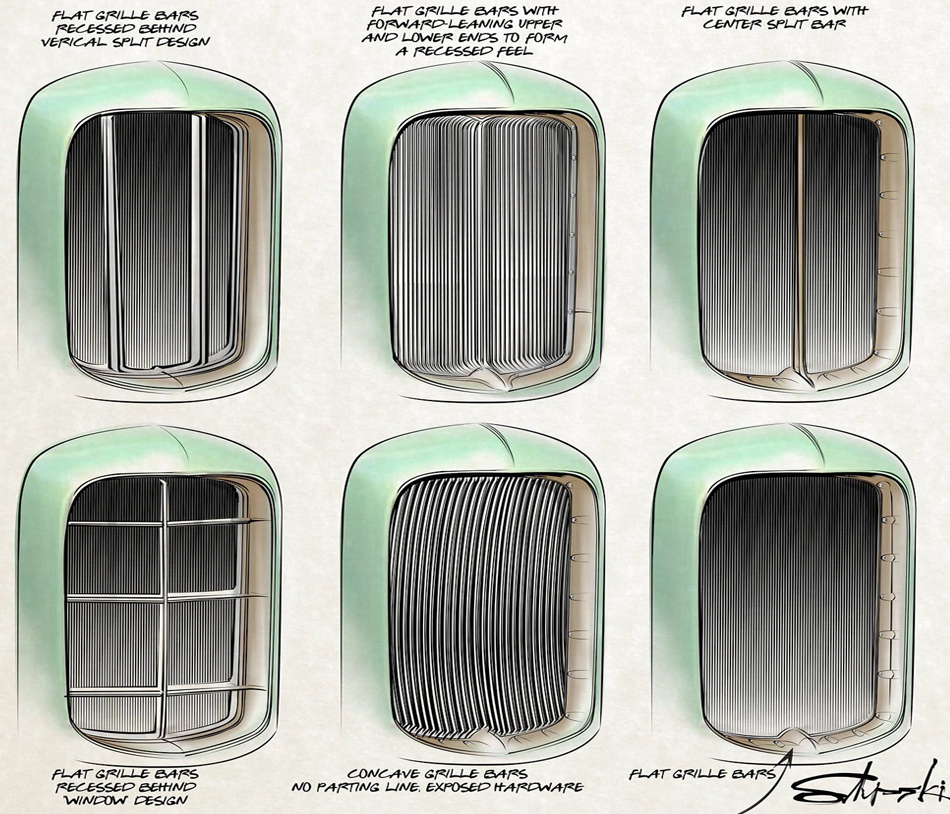 ORIGINAL GRILLE DESIGN SKETCHES BY BRIAN STUPSKI FOR THE CAL AUTO CREATIONS MODEL A