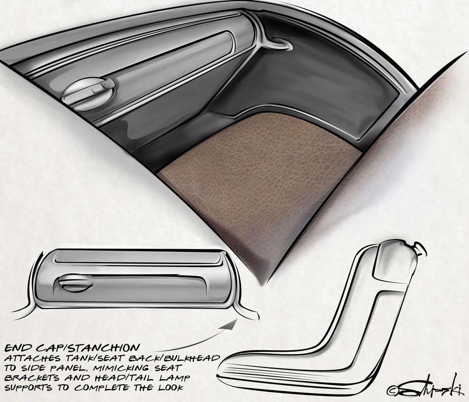 ORIGINAL RUMBLE SEAT DESIGN SKETCHES BY BRIAN STUPSKI FOR THE CAL AUTO CREATIONS MODEL A