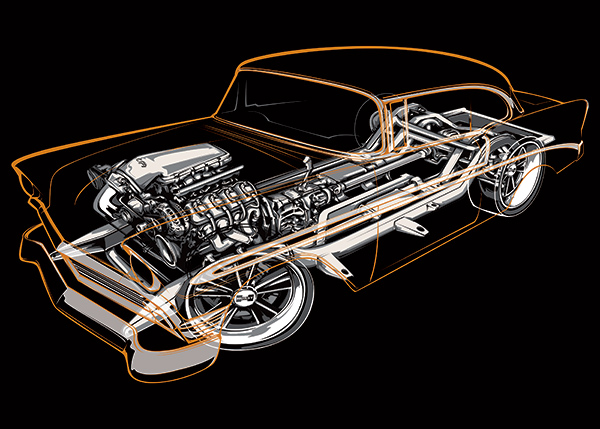 cutaway car illustration poster