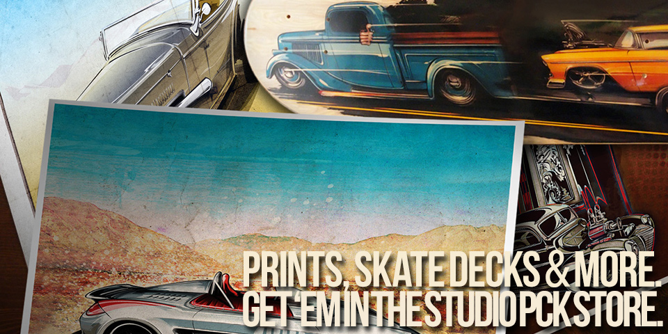 automotive fine art prints skate decks and t-shirts
